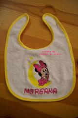 Baby bib with Minnie Mouse and moon embroidery design
