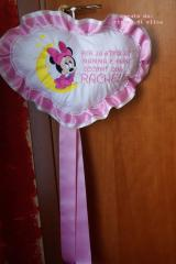 Birthday cushion with Minnie Mouse and moon embroidery design