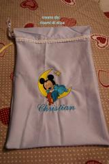 Bag with Baby Mickey Sleeping embroidery design