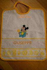 Baby bib with Mickey Mouse with ice-cream embroidery design