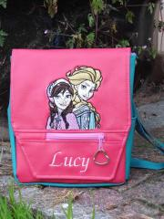 School backpack with Frozen sisters embroidery design