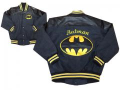 Baseball jacket with Batman logo embroidery design