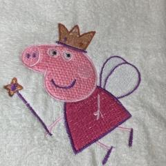 Towel with Peppa Pig Angel embroidery design