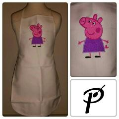 Kitchen apron with Peppa Pig embroidery design