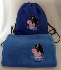 Towel and bag with Peppa Pig pirate embroidery design