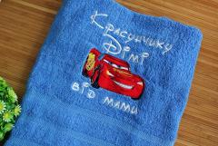 Towel with Lightning McQueen embroidery design