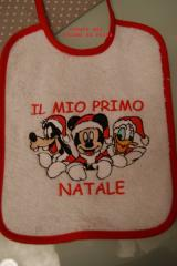 Christmas baby bib with Mickey Mouse Goofy and Donald Duck embroidery design