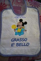 Baby bib with Mickey Mouse with ice cream embroidery design