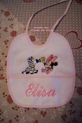 Baby bib with Minnie Mouse and zebra embroidery design
