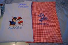 School bags with Paw Patrol and Iron Man embroidery design