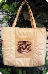 Bag with cat photo stitch embroidery