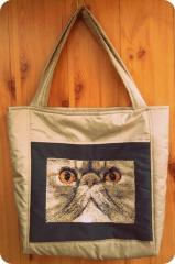 Bag with persian cat photo stitch design