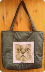 Bag with Persian cat photo stitch embroidery