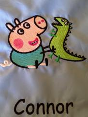 Peppa Pig with Caterpillar embroidery design