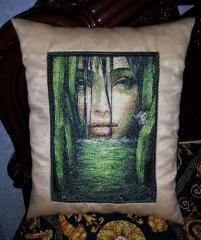 Pillow with strange lady free embroidery design