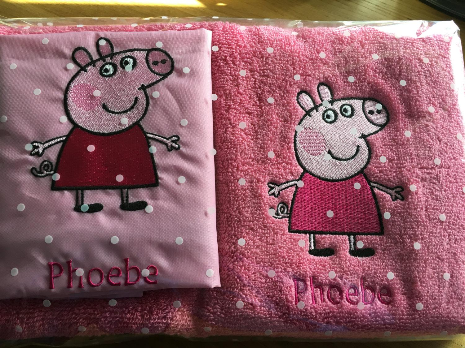 Newborn gift  with Peppa Pig embroidery design