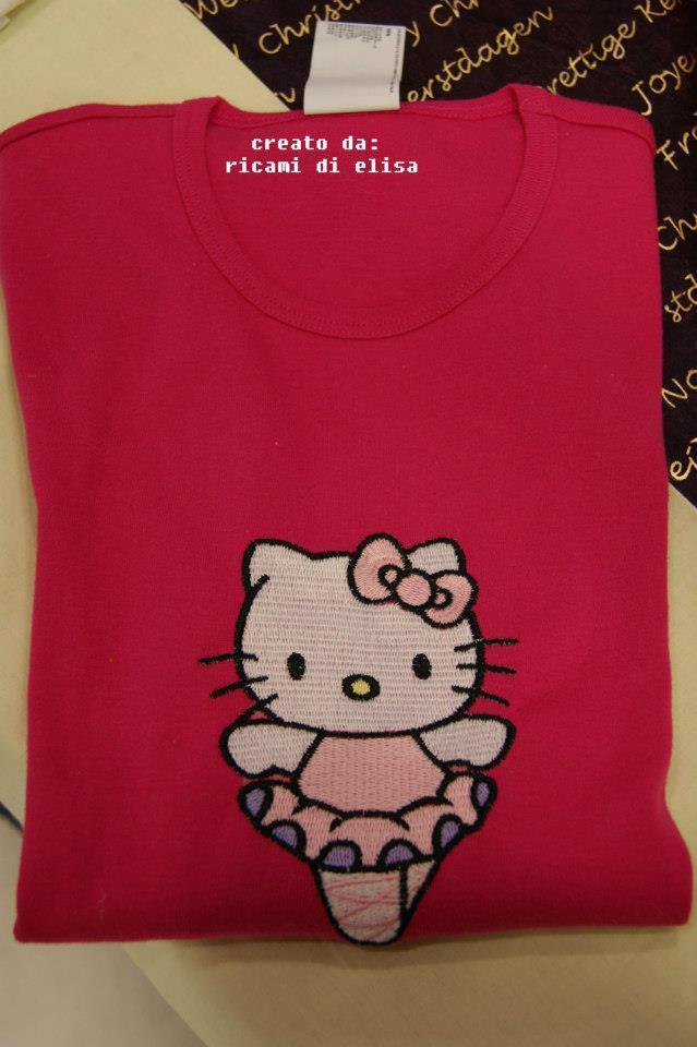 Shirt with Hello Kitty Ballerina embroidery design