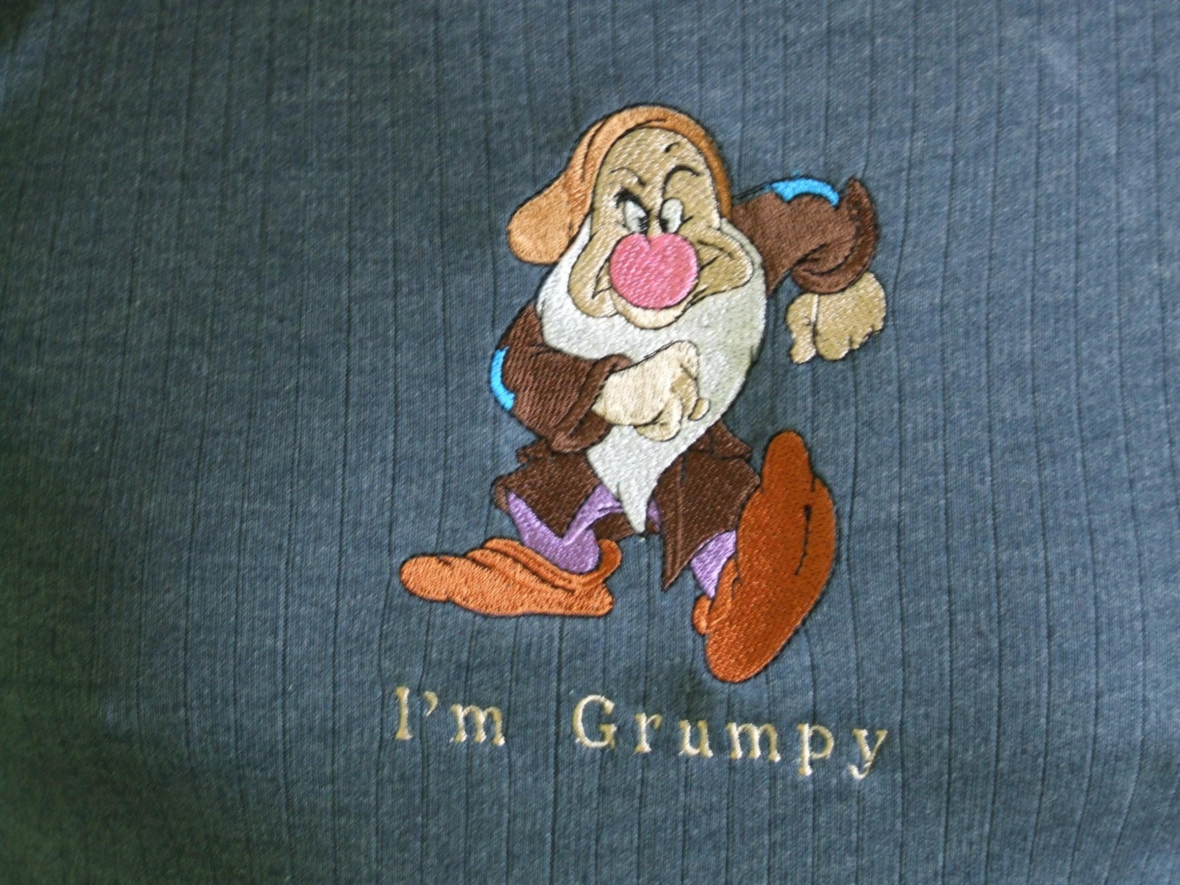 Grumpy embroidery design