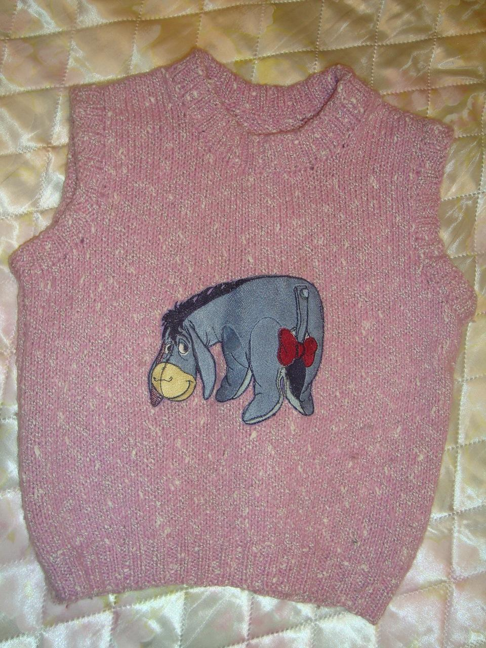 Knitting sweater with eeyore machine embroidery design