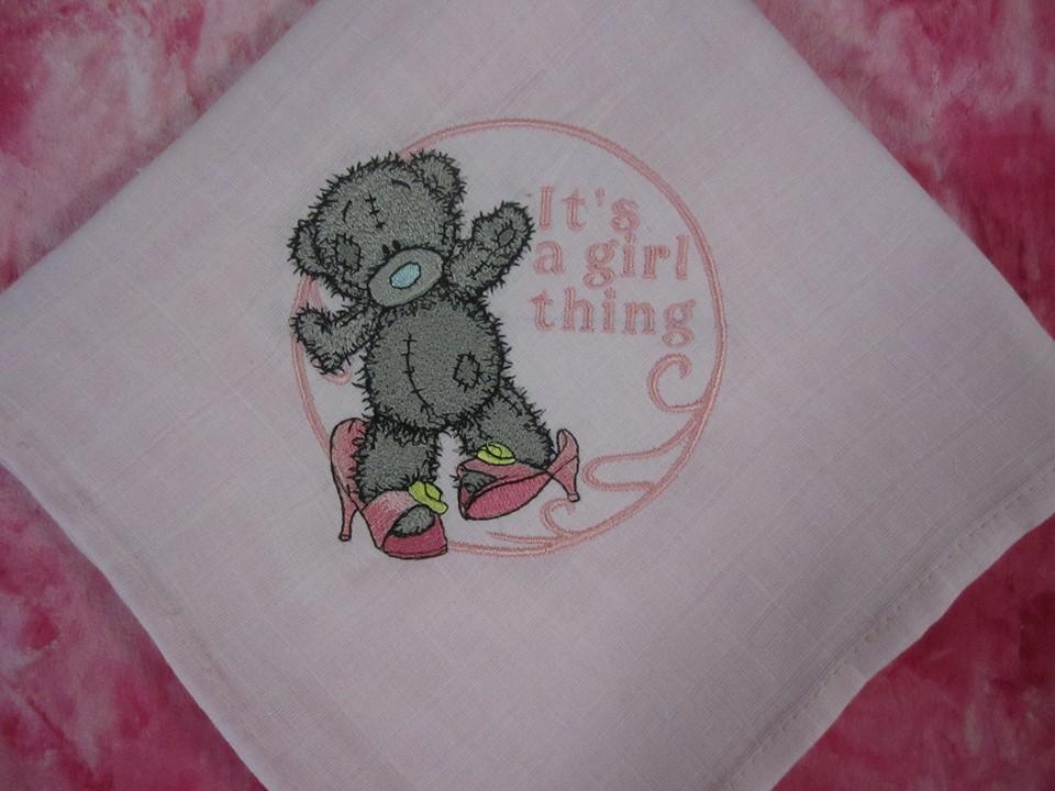 Cotton napkin with Teddy Bear embroidery design