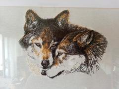 Two wolfs photo stitch free embroidery design