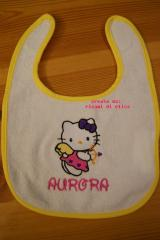 Baby bibs with Hello Kitty Cupid embroidery design