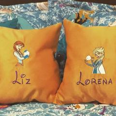 Cushiion with Frozen sisters embroidery design