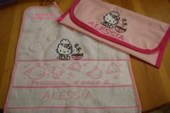 Baby bib with Hello Kitty Loves Chinese Food embroidery design