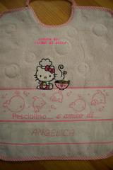 Baby bib Hello Kitty Loves Chinese Food embroidery design