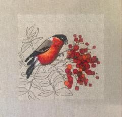 Bullfinch cross stitch free embroidery design