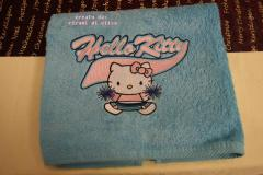 Towel with Hello Kitty Cheerleading embroidery design