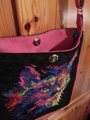 Embroidered bag with wolf modern colored art free embroidery design
