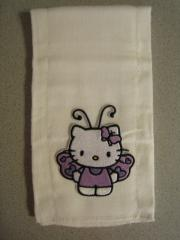 Kitchen towel with Hello Kitty Butterfly machine embroidery design