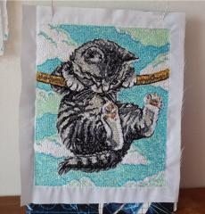 Kitten cross stitch free embroidery design
