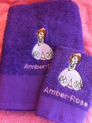 Bath towels with Sofia The First machine embroidery design