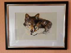 Wolfs photo stitch free embroidery design frame