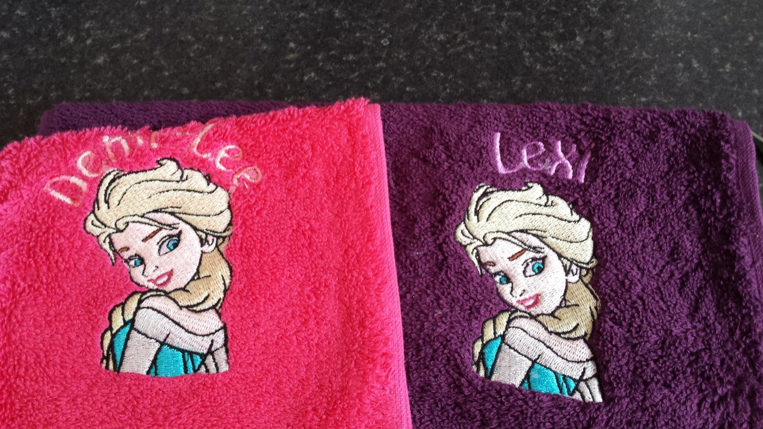 Towels with Elsa embroidery designs