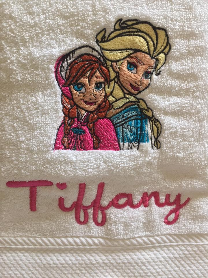 Towel with Frozen sisters embroidery design