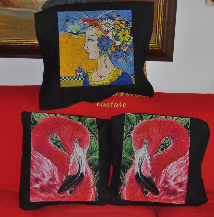 Embroidered pillow with photo stitch free designs
