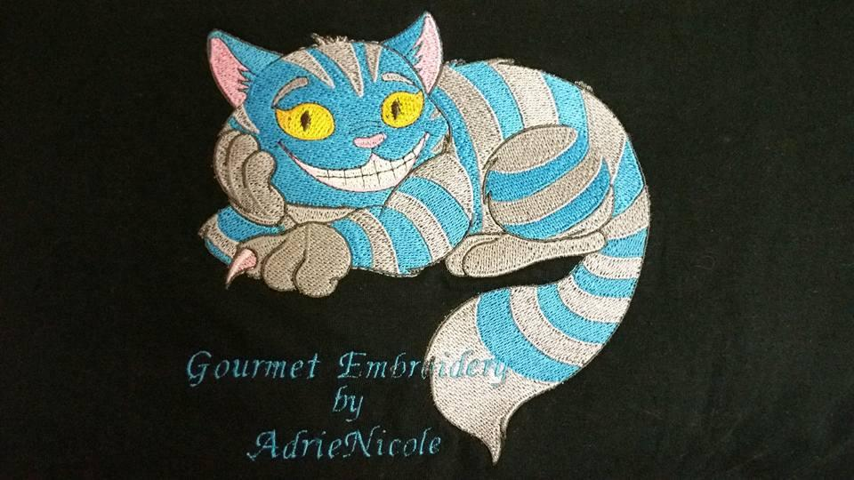 Strange cat embroidery design