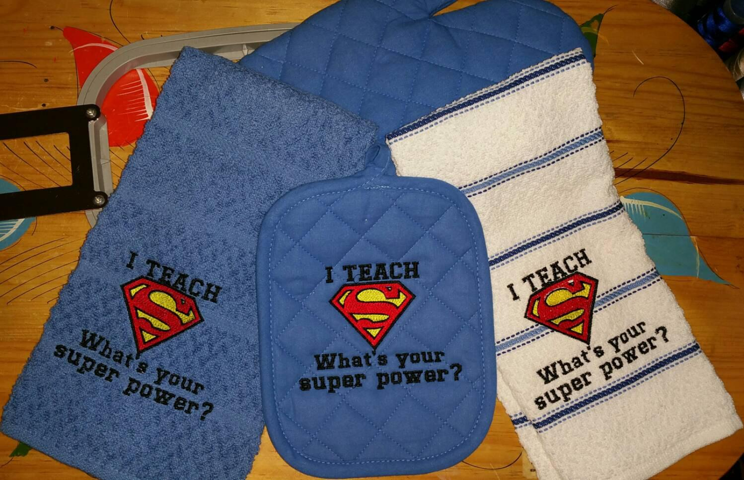 Towels with Superman Logo embroidery design