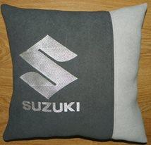 Ciushion with Suzuki logo machine embroidery design