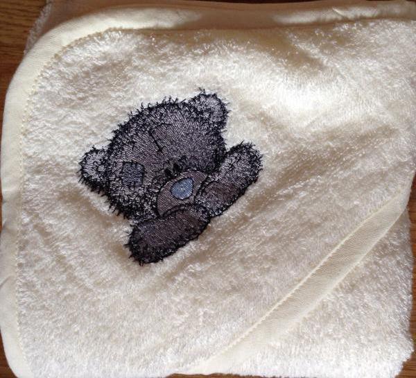 Bib with Teddy Bear happy face machine embroidery design