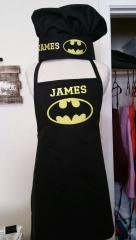 Kitchen apron and hat with Batman logo embroidery design