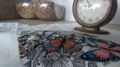 Cotton napkin with gorgeous butterfly machine embroidery design