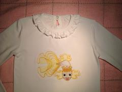 Women's shirt with Gold fish free machine embroidery design