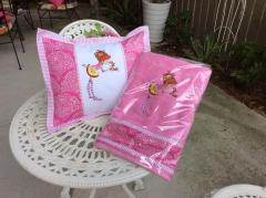 Cushion and towel with Girl and squirrel embroidery design
