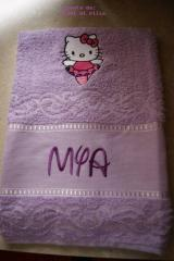 Towel with Hello Kitty Ballerina embroidery design