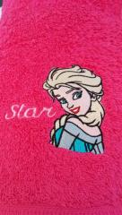 Towel with Elsa embroidery design