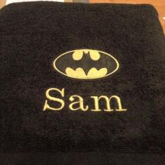 Bath towel Batman logo embroidery design